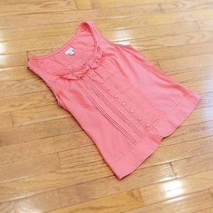 Odille sleeveless pin tuck button down top